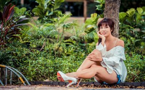 Picture girl, shoes, studs, legs, Asian, sitting, peer, bokeh