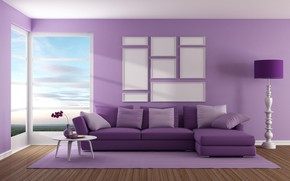 Wallpaper design, sofa, interior, window, living room, purple