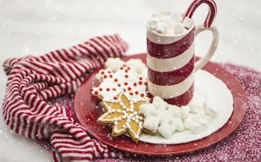 Picture winter, snow, strips, snowflakes, red, holiday, scarf, cookies, plate, Christmas, mug, New year, pieces, staff, …