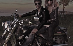 Picture girl, Bikers, guy, 3D graphics, харлей.