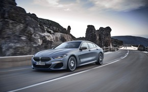 Picture mountains, rocks, coupe, BMW, Gran Coupe, 8-Series, 2019, the four-door coupe, Eight, G16