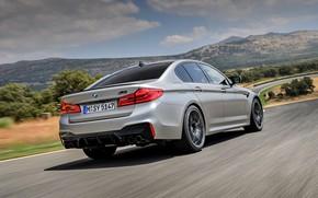 Picture asphalt, grey, BMW, sedan, side view, 4x4, 2018, four-door, M5, V8, F90, M5 Competition