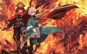 Picture smile, fire, sword, the saber, Fate / Grand Order, Levushka