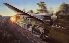 Picture war, art, airplane, aviation, ww2, the hawker tempest