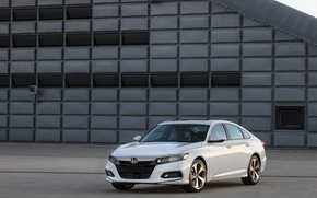 Picture white, the building, Honda, Accord, sedan, 2018, Touring, 2.0T, four-door