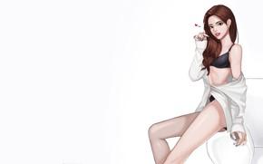 Picture Girl, Art, Style, Background, Illustration, Minimalism, Character, lovely girl, kyu min Hwang