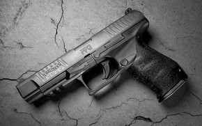 Picture cracked, gun, weapons, background, Walther PPQ