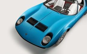 Picture Lamborghini, The hood, Lights, Classic, Miura, 1968, Classic car, Lamborghini Miura, Lamborghini Miura Roadster