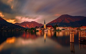 Picture the sky, sunset, mountains, lake, reflection, Germany, Germany, Rottach-Egern