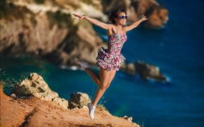 Picture sea, girl, pose, mood, rocks, jump, feet, hands, flight, sundress, Alex Lett, Yevgeniya Yarmak