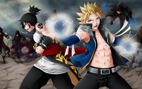 Picture magic, anime, art, guys, the battle, characters, Fairy Tail, Fairy tail