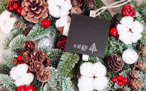 Picture snow, branches, berries, holiday, plate, fruit, Christmas, New year, needles, bumps, bokeh, Christmas decorations, postcard, …