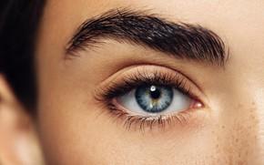 Picture woman, eye, pupil, eyelids