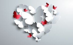 Picture BACKGROUND, RED, BUTTERFLY, HEART, WHITE