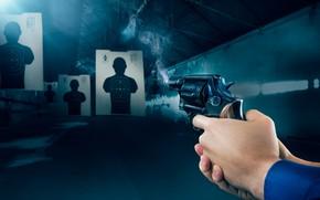 Picture gun, smoke, target shooting