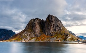Picture autumn, the sky, clouds, landscape, mountains, nature, rock, rocks, shore, mountain, Norway, top, pond, cloudy, …