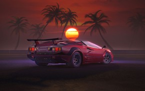 Picture Sunset, The sun, Auto, Music, Lamborghini, Machine, Style, 80s, Style, Supercar, Neon, Countach, Rendering, Illustration, …