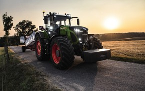 Picture road, field, sunset, lights, tractor, cabin, wheel, plow, agricultural machinery, Fendt, the counterweight, Fendt 900 …