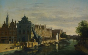 Picture oil, picture, the urban landscape, Gerrit Adriaenszoon Berckheyde, Gerrit Adriaenszoon Berckheyde, The crane on the …