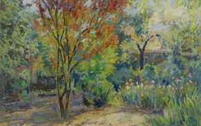 Picture autumn, landscape, picture, In The Garden, Jacques Martin Ferrieres