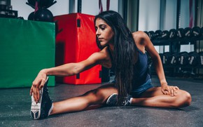 Picture pose, figure, fitness, hair, pose, the gym, training, model., workout, fitness, gym, warm-up