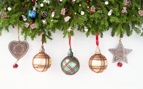 Picture branches, toys, Christmas, ate, decor, Rights Reserved, LAIMDOTA GRIVANE