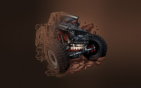 Wallpaper Auto, Minimalism, Machine, Teeth, Background, Car, Art, Illustration, Transport, Jeep, Grin, Vehicles, Creatures, Transport, Transport ...