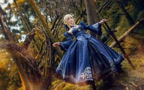 Picture forest, look, girl, trees, branches, blue, pose, style, weapons, thickets, sword, hands, blonde, costume, Asian, …