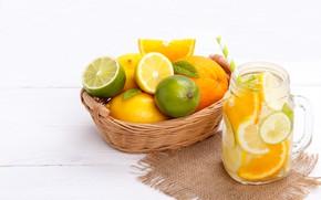 Picture lemon, orange, lime, lemonade, Citrus