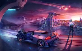Picture The city, Lamborghini, Future, Girl, Background, City, Car, 80s, Fiction, Neon, Illustration, Science Fiction, 80's, …