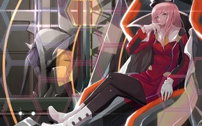 Picture girl, art, 002, Darling In The Frankxx, Cute in France, Zero Two