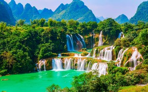 Picture forest, waterfall, Vietnam, threads, Ban Gioc Falls