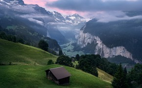 Picture mountains, slope, Alps, house