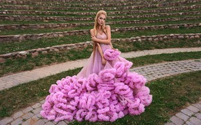 Picture pose, stones, lawn, model, makeup, dress, hairstyle, blonde, is, in pink, Kate, Sergey Vilkevich