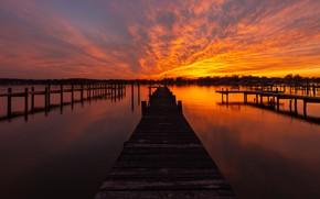 Picture sunset, bridge, the evening, pierce, twilight, the bridge, pond