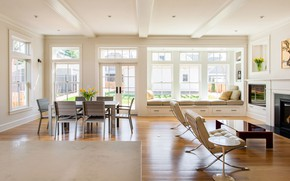 Picture interior, fireplace, living room, dining room, Crocus Hill Residence