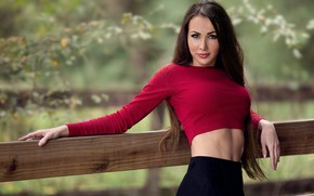 Picture chest, look, girl, face, pose, tummy, brunette, girl, topic, blouse, sexy, beautiful, beautiful girl