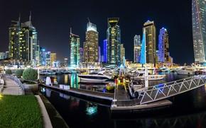 Picture night, the city, skyscraper, panorama, Dubai, Dubai, Panorama