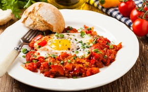 Picture Breakfast, bread, tomatoes, parsley, bacon and eggs