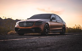 Wallpaper mercedes, Mercedes, AMG, brown, s-klass