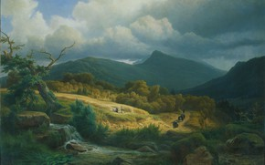 Picture landscape, oil, canvas, 1855, At the cemetery in Baden-Baden, Pierre Louis Dubourcq