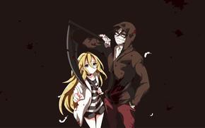 Picture girl, weapons, background, braid, guy, Angel bloodshed, Satsuriku no Tenshi