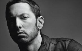 Picture actor, Eminem, singer, black and white, rapper, Eminem