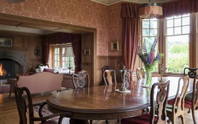 Picture interior, fireplace, classic, living room, dining room, English style, Perthshire, Jordanstone House