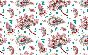 Picture white, background, texture, Paisley