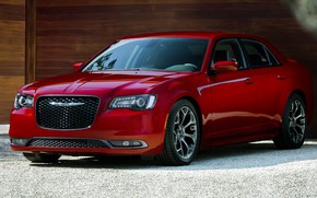 Picture car, machine, Chrysler, red, sedan, front, red, wheel, beautiful car, Chrysler 300S