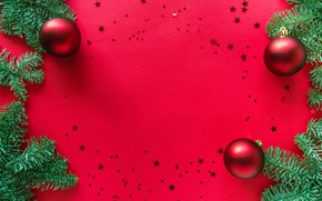 Picture winter, balls, branches, holiday, balls, Christmas, red, New year, needles, stars, red background, Christmas decorations, …