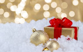 Picture snow, gift, balls, New Year, Christmas, Christmas, balls, snow, New Year, gift, decoration, Happy, Merry