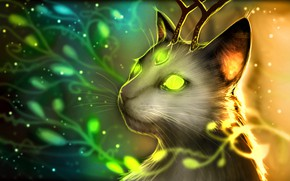 Picture horns, horns, fantasy art, glowing eyes, glowing eyes, fantastic creature, fantasy art, magic cat, magic …
