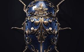 Picture minimalism, artist, rendering, digital art, artwork, black background, insect, bug, jewel, copper, sapphires, Sasha Vinogradova